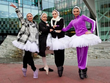Members of The Russian State Ballet pictured outside the Bord Gáis Energy Theatre where it will perform Swan Lake and Cinderella